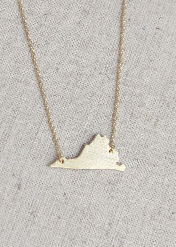 VA love (Virginia state necklace brushed gold  by girlsdayout)