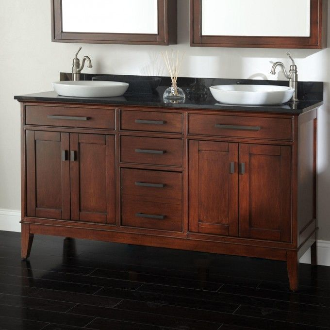 "72 Madison Double Vessel Sink Vanity: 60"" Madison Double Vanity For Semi-Recessed Sinks - Tobacco"