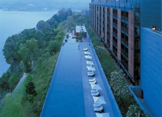 22 – The Lalu, Taiwan Nested on the shores of Sun Moon Lake, this heated pool is the longest swimming pool in Taiwan (60 meters long). It is one heck of a lap pool for those of you who like swimming as an exercise. Come the month of February, the sur