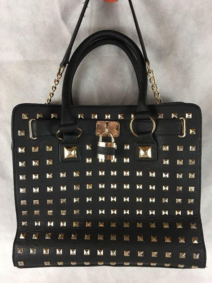 Studded Leather Large Black Purse W/ 1/2 Gold Chain Shoulder Strap, Dual Handle  #Unbranded #ShoulderBag