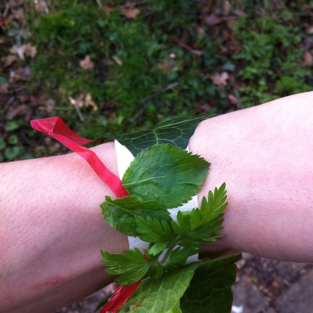 Masking tape reversed around wrist for collecting small objects