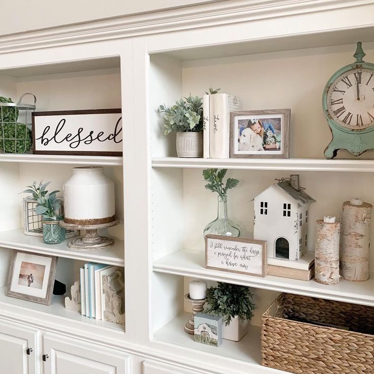 Diy Projects And Ideas For Farmhouse Shelves Worth Trying Diy Projects Bookshelves In Living Room Built In Shelves Living Room Shelf Decor Living Room