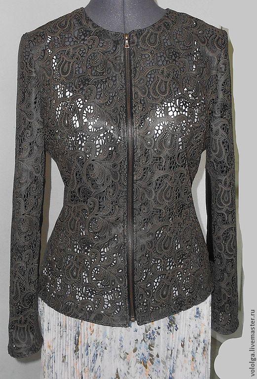 Купить Куртка. Кожа. Перфорация - чёрный, орнамент, кружевная кожа, лазерная перфорация, натуральная кожа