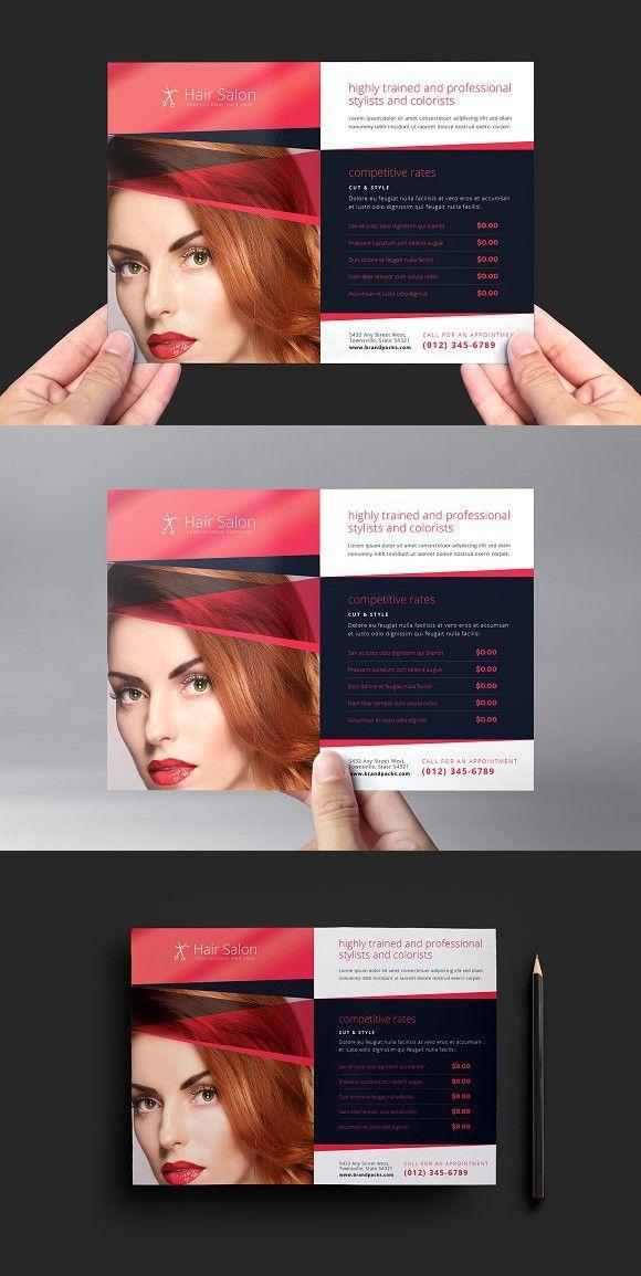 Hair Salon Flyer Template V2 Female Graphic Design Pinterest