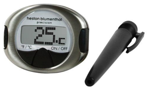 Heston Blumenthal Precision Digital Meat Thermometer by Salter. $23.79. A meat thermometer from the exclusive Heston Blumenthal range! -Animated display - Switch between °C and °F - Quality stainless steel body - Silicone easy grips - Chefs' pocket case with clip