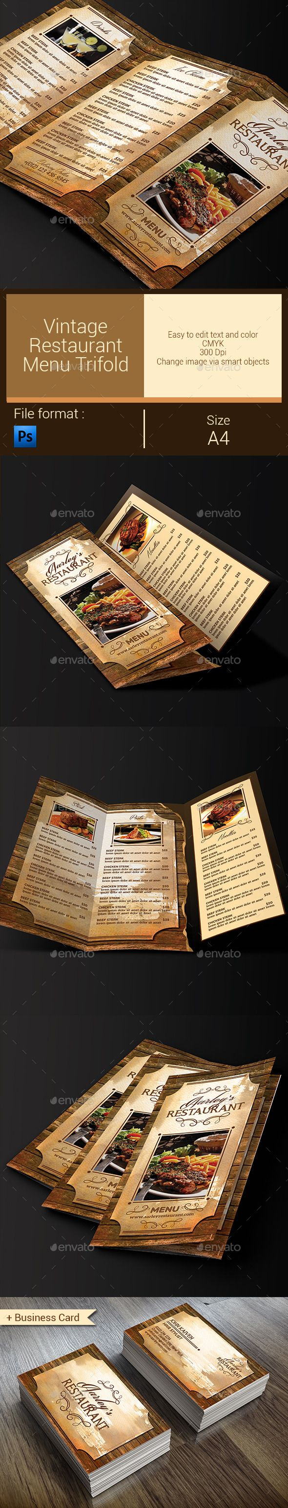 455 best trifold restaurant menu template images on pinterest vintage restaurant menu trifold business card wajeb Images