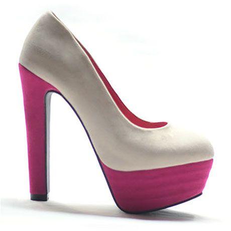 Colorblocked Suede Platform Heels