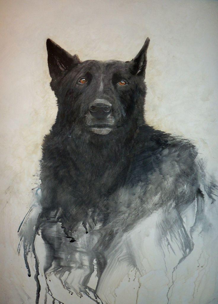 Original watercolour on board by DennisKalichuk.com  German Shepherd portrait