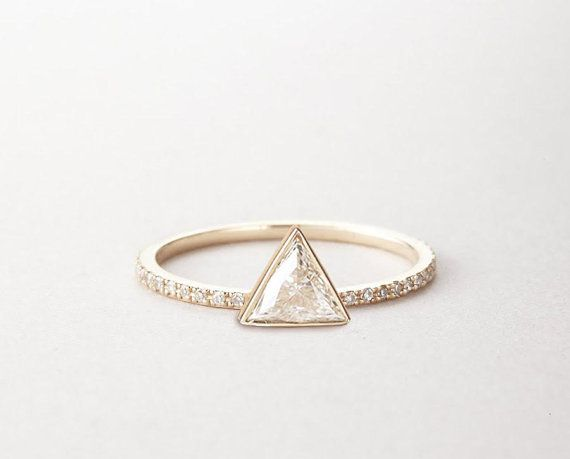 0.3 carat Trillion Diamond ring Triangle Diamond Ring by MinimalVS