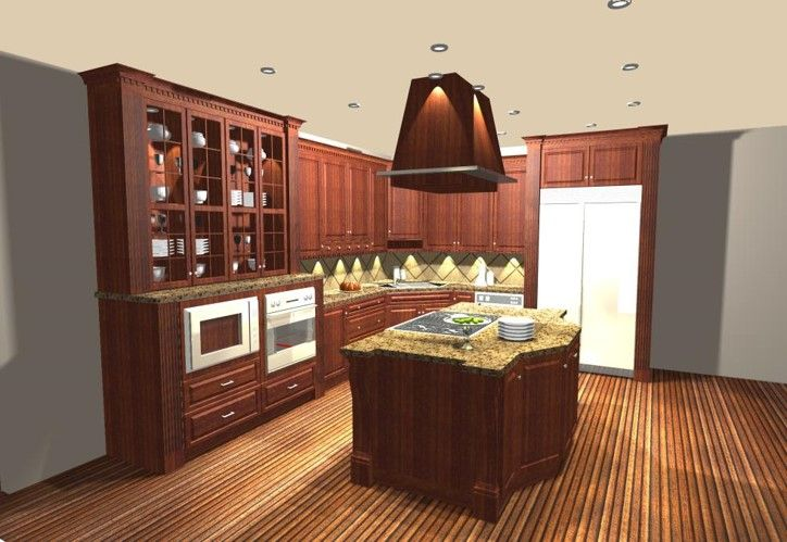 Traditional Styled Kitchen in dark stained cabinetry with wood island hood and glass fronted hutch cabinets