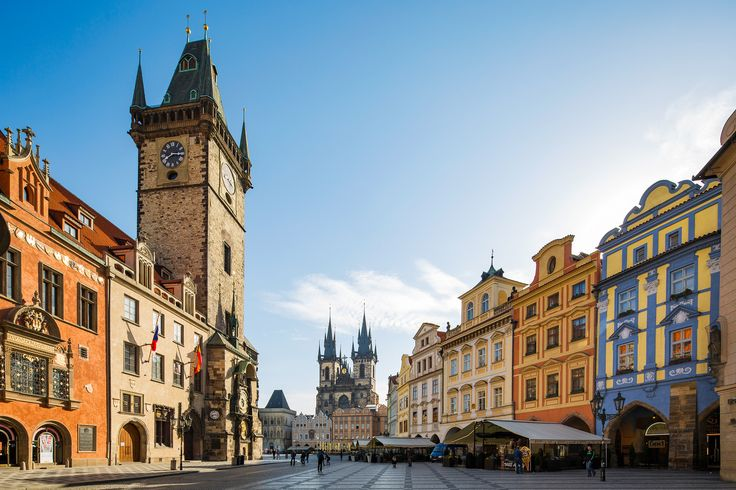 Old Town Square - The Czech Republic, Prague. The tower of the Old Town Hall leading on to the Old Town Square in Prague.    Credits: Jonathan Reid