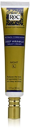 RoC Retinol Correxion Deep Wrinkle Night Cream, 1 Ounce$14.50       Exclusive combination of pure Retinol and an essential mineral complex     Hypoallergenic- Dermatologist tested     Visible results in just 12 weeks     Oil-free     Non-comedogenic (won't clog pores)  http://www.amazon.com/gp/product/B00027DMI8?ie=UTF8&camp=1789&creativeASIN=B00027DMI8&linkCode=xm2&tag=daily0714-20