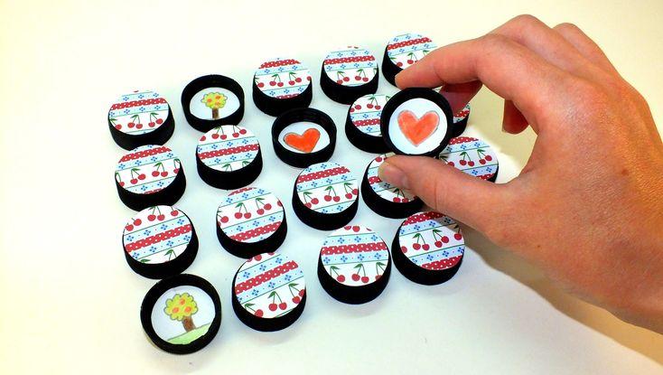 Memória játék műanyag kupakokból