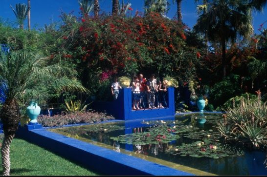 61. Le jardin Majorelle, Marrakech, Morocco: created in the 1920's by Majorelle, later owned by Yves Saint Laurent, who named a shade of nail polish from his cosmetic line after it.