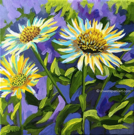 """12""""X12"""" original painting floral acrylic small canvas art wall art Coneflowers yellow purple home office interior decor by Shweta Patil"""