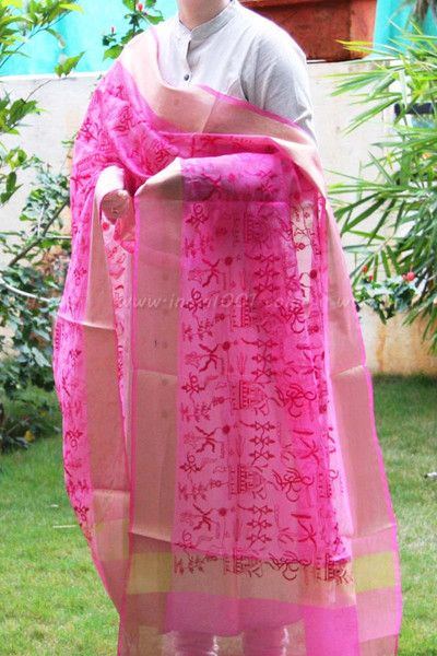 Elegant Chanderi Embroidered Dupatta