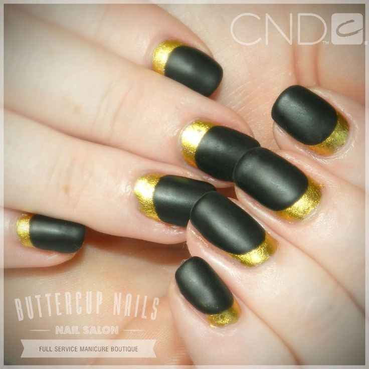 CND matte Shellac in Black Pool with gold foil.  #CND #CNDWorld #CNDShellac #Shellac #nails #nail #nailstagram #naildesign #naildesigns #nailaddict #nailpro #nailart #nailartist #nailartdesign #nailartofinstagram #nailartdesigns #mattenails #foilnails