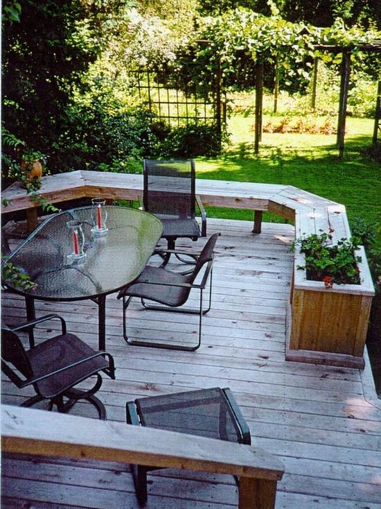 19 best yard built in garden seating images on pinterest for Garden decking seating ideas