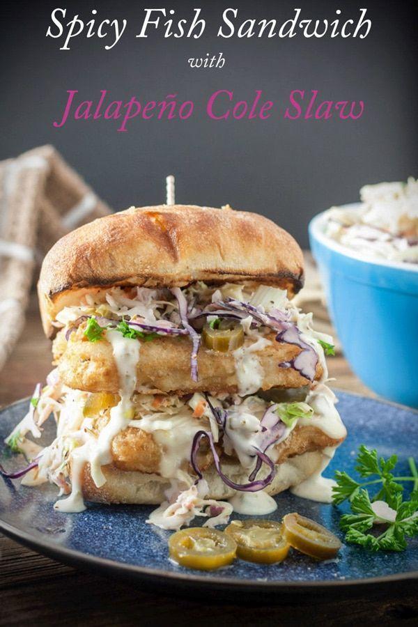 Spicy Fish Sandwich & Jalapeño Cole Slaw