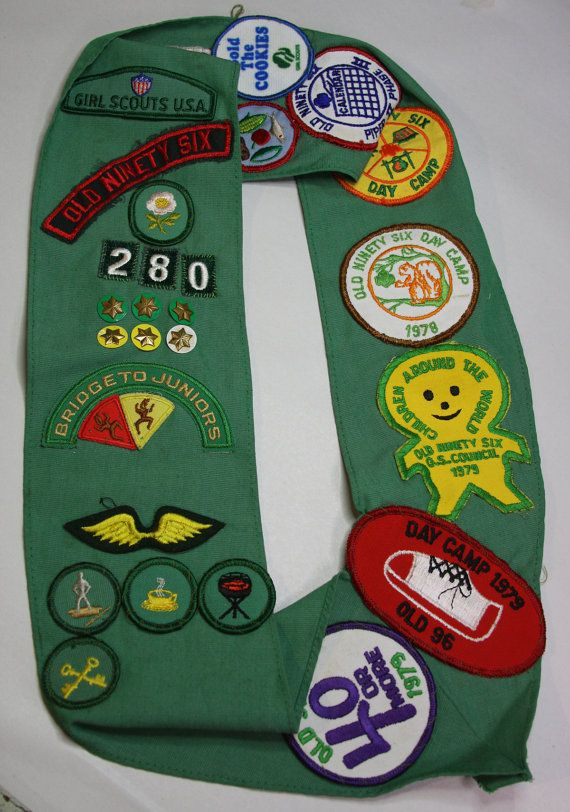 Vintage Girl SCOUT Sash with Badges Patches by VintageSupplyCo