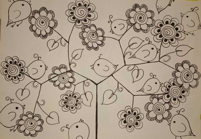 Zentangle birds & flowers
