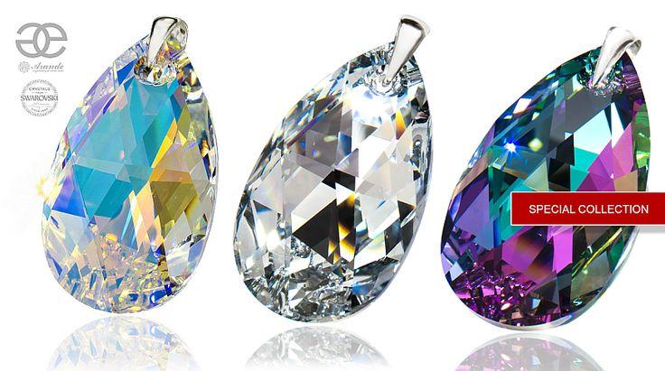 Największe kryształy w kolorze Aurora, Comet i Vitrail Light stworzone specjalnie dla Arande przez firmę Swarovski z okazji 60. rocznicy powstania efektu Aurora. Ten blask jest powalający zwłaszcza w okazałych kryształach. Tylko u nas: http://arande.pl/store/Kolekcje-Specjalne