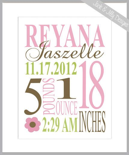 PERSONALIZED BIRTH STAT Print - 8x10 -You Choose the Colours to Perfectly Match your Child's Room or Nursery - Carters Jungle Jill on Etsy, $13.83