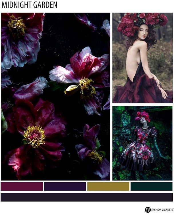 MICRO TREND - F/W 2016-17     MIDNIGHT GARDEN      Haunting yet beautiful florals with deep dark saturated palettes. Florals in ditsy and oversized scales with black, burgundy and dark blue grounds co