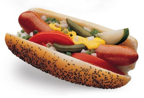 A beautiful and delicious Chicago style hot dog, prepped with a full garden of toppings.