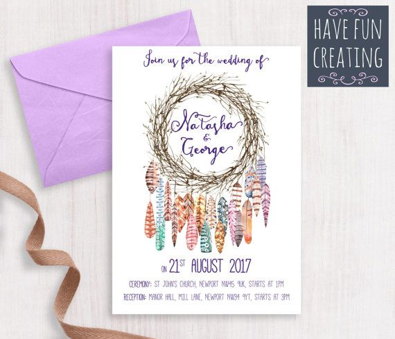 Wedding Invitation: Dreamcatcher  Print at home by havefuncreating