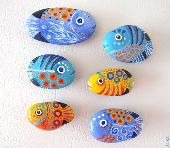 Painted rock stone art fish magnets set of 6 reserved by artalika