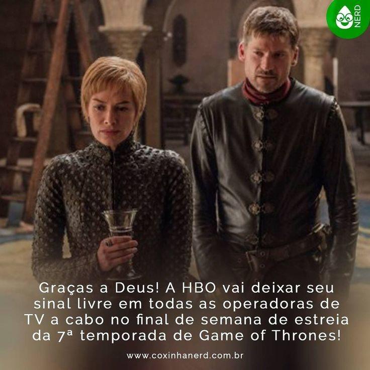 #CoxinhaNews Graças a Deus! A HBO vai deixar seu sinal livre em todas as operadoras de TV a cabo no final de semana de estreia da 7ª temporada de Game of Thrones! O canal terá seu sinal liberado entre os dias 14 e 16 de julho somente para o primeiro episódio da nova temporada da série! #timelineacessivel #pracegover   TAGS: #coxinhanerd #nerd #geek #geekstuff #geekart #nerd #nerdquote #geekquote #curiosidadesnerds #curiosidadesgeeks #coxinhanerd #coxinhaseries #series #seriados…