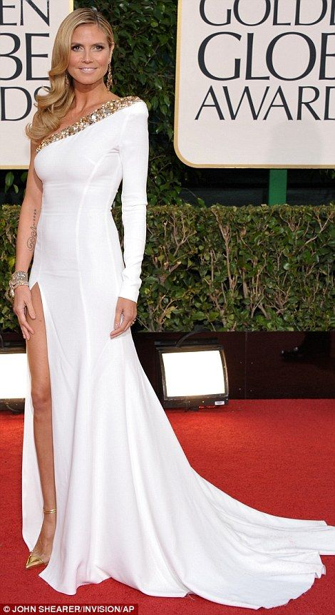 White hot: Heidi Klum and Lea Michele sizzled in their white gowns which were both slashed to the thigh