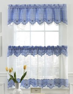 Provence is a deluxe curtain program made of semi-sheer, faux linen fabric, pieced with a gingham trim richly embellished with floral embroidery.  #Sheer #Kitchen #Curtains