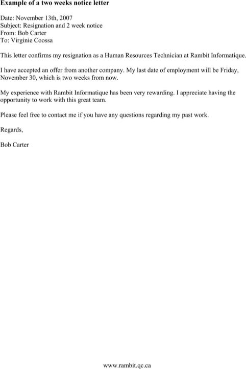 The  Best  Week Notice Letter Ideas On   Formal