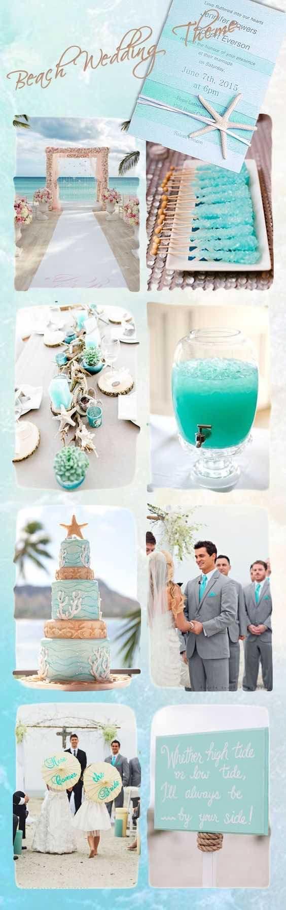 Inspiración para organizar bodas en la playa en color seafoam.