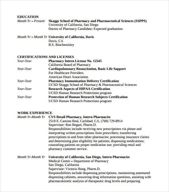 D Pharmacy Resume Format For Fresher Resume Format Resume Sample Resume