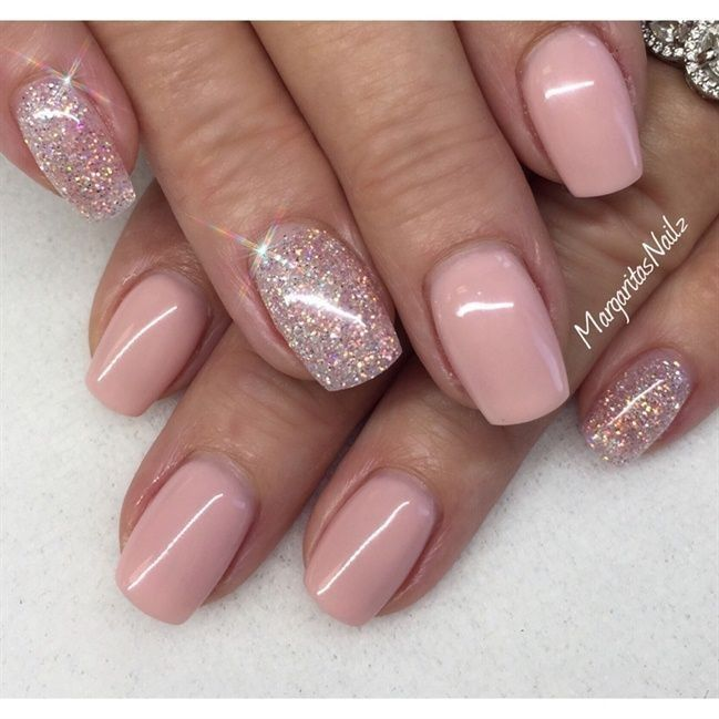 Soft Pink + Squoval + Glitters