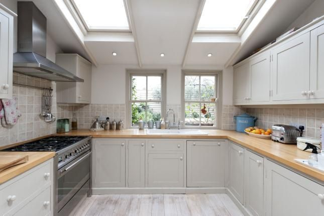 Grey Kitchen in small rear extension of semi detached house. Full details on Modern Country Style blog: Swedish/French Style Victorian House Tour
