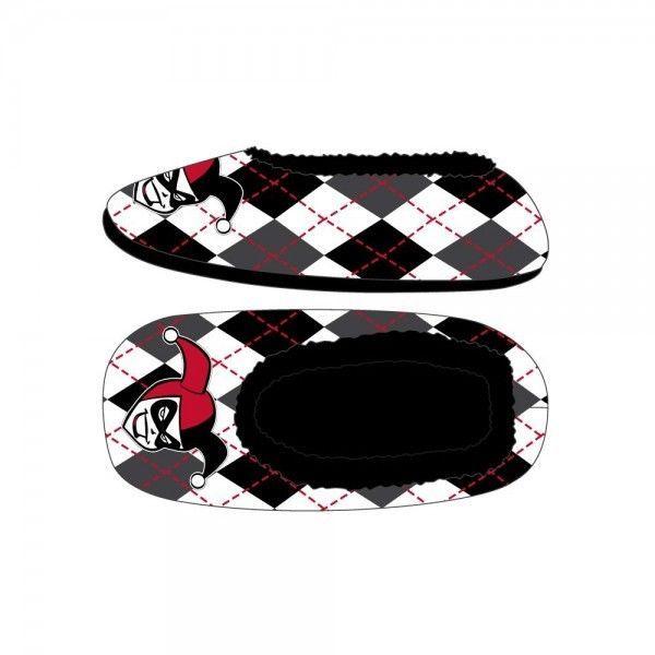 Harley Quinn Black and White Diamonds Cozy Slippers Faux Fur Lining BATMAN DC #Bioworld #NoveltyIndoor