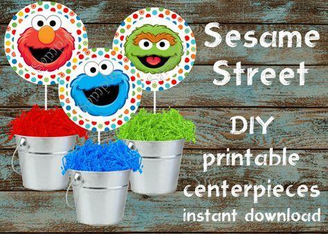 Sesame Street Centerpieces, Sesame Street Decorations, Sesame Street Birthday, Sesame Street Party, Sesame Street Cake Toppers, Plaza Sesamo