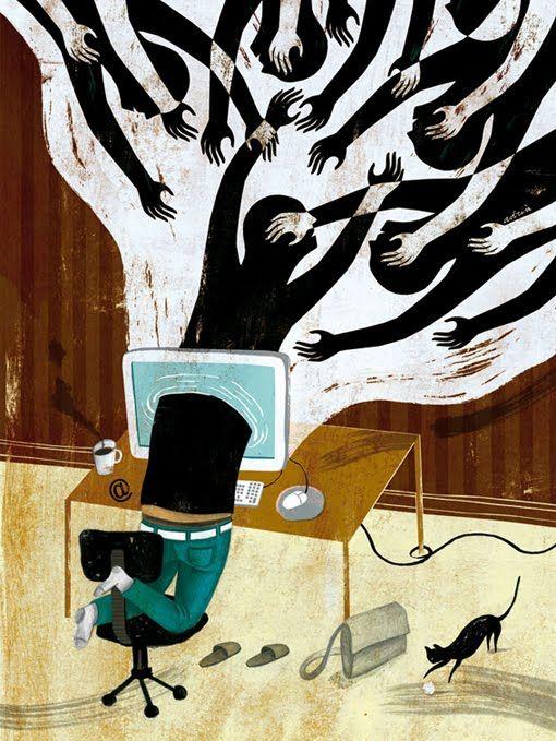 """Adria Fruitos illustrates """"El fin de la soledad"""" for El Malpensante Magazine"""