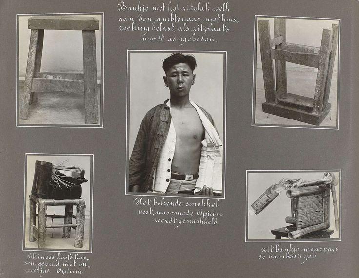 Anonymous | Verbergplaatsen voor opium, Anonymous, 1920 - 1930 | Albumblad met vijf foto's van een kruk en bankje waarin opium werd verstopt en van een man met een smokkelvest voor opium. Onderdeel van het fotoalbum uit 1930 met politiefoto's over de opiumsmokkel in Indië.