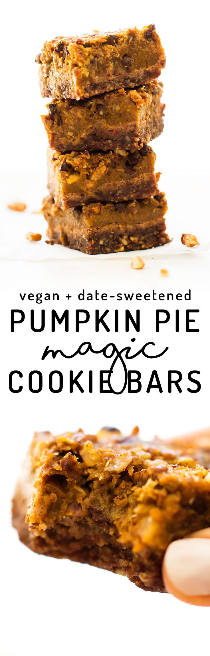 Your favorite fall pie meets gooey cookie goodness in these Pumpkin Pie Magic Cookie Bars with pecan crust, date-sweetened filling, and lots of chocolate chips! Vegan, paleo, gluten-free, refined sugar-free.