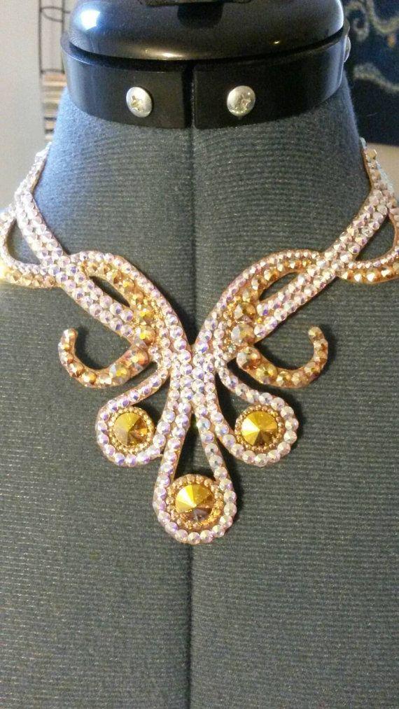 Custom ballroom jewelry for sale Rhinestone crystal golden necklace https://www.etsy.com/listing/274109138/golden-ballroom-audrey-necklace-custom