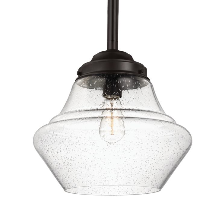 alcott oil rubbed bronze onelight wide integrated led open pendant with clear seeded glass