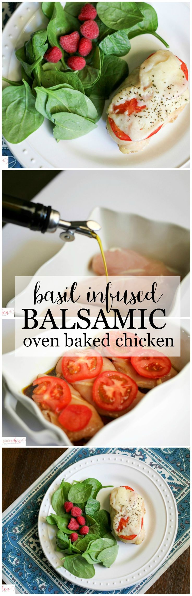 This Basil Infused Balsamic Oven Baked Chicken is a winner/winner chicken dinner! A delicious and healthy chicken dinner recipe  that is full of flavor.