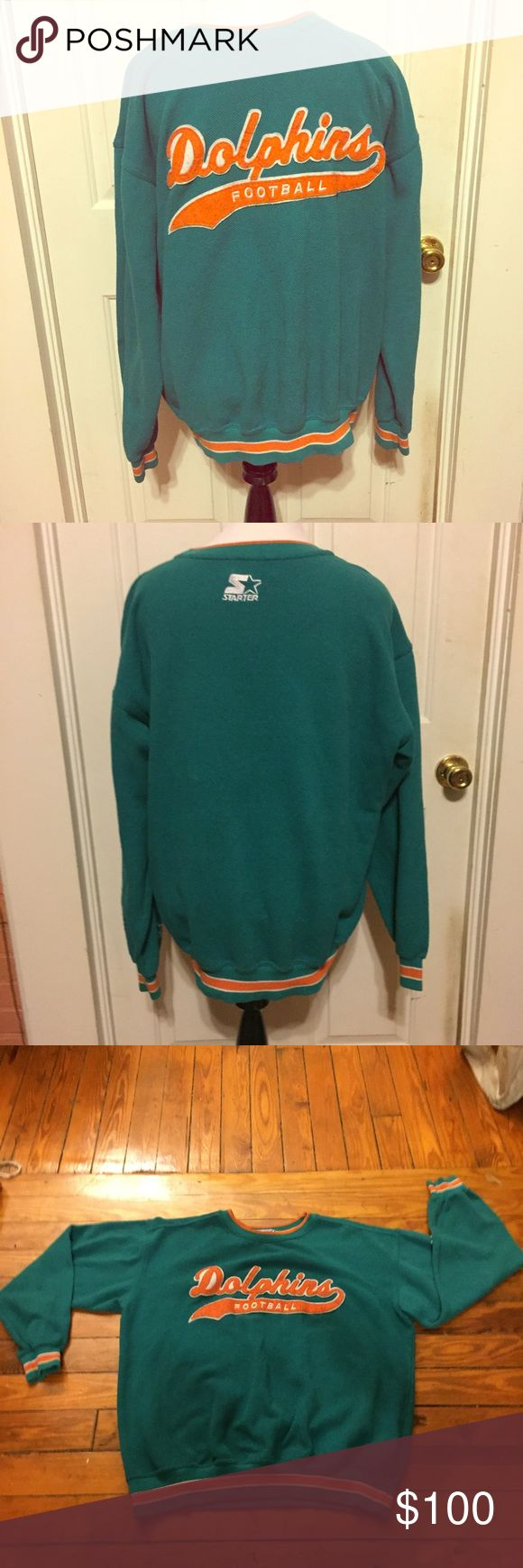 RARE Vintage Starter NFL Miami Dolphins Sweater XL RARE Vintage Starter NFL Miami Dolphins Men's Sweater size XL. Turquoise/Teal, Orange, and white. Could work for a lady too. Made in 80's most likely. Super soft and comfy. In great vintage condition. Get it before it's gone! Comment if you need measurements. Bundle and Save $$ Starter Sweaters Crewneck