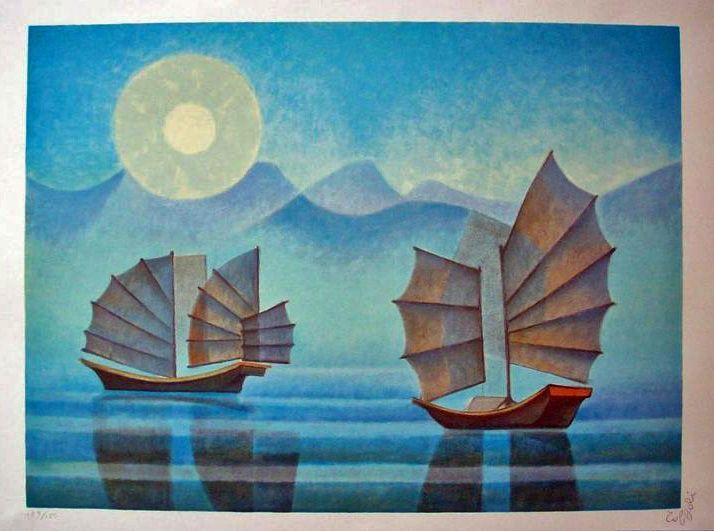 """""""Aube à Hong Kong"""" huile sur toile de Louis Toffoli (1907-1999) peintre français. La galerie Perahia (Rue Dauphine Paris 6e) expose en permanence, environ deux cents tableaux."""