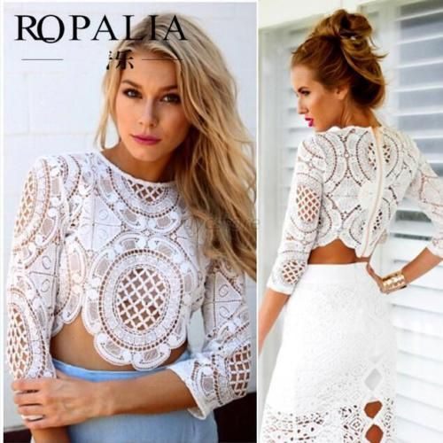 Sexy Women Lady Crochet Lace Cropped Top Long Sleeve T Shirt Blouse White | eBay